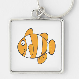 cute happy little clown fish cartoon character Silver-Colored square keychain