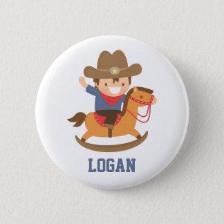 Cute Happy Little Cowboy on Rocking Horse Button