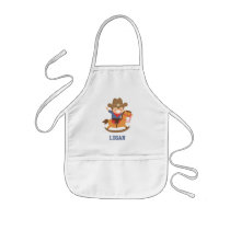 Cute Happy Little Cowboy on Rocking Horse Kids' Apron