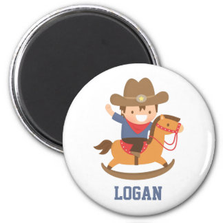 Cute Happy Little Cowboy on Rocking Horse Magnet