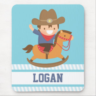 Cute Happy Little Cowboy on Rocking Horse Mouse Pad