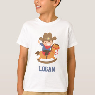 Cute Happy Little Cowboy on Rocking Horse T-Shirt