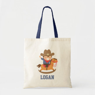 Cute Happy Little Cowboy on Rocking Horse Tote Bag