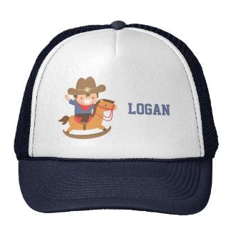 Cute Happy Little Cowboy on Rocking Horse Trucker Hat