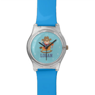 Cute Happy Little Cowboy on Rocking Horse Wrist Watch