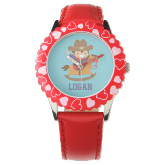 Cute Happy Little Cowboy on Rocking Horse Wristwatch