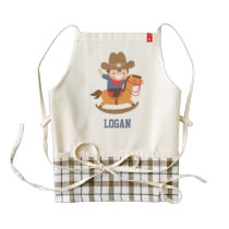 Cute Happy Little Cowboy on Rocking Horse Zazzle HEART Apron