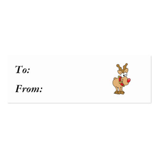 Cute Happy Little Red Nose Reindeer Double-Sided Mini Business Cards (Pack Of 20)
