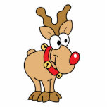 Cute Happy Little Red Nose Reindeer Cut Out