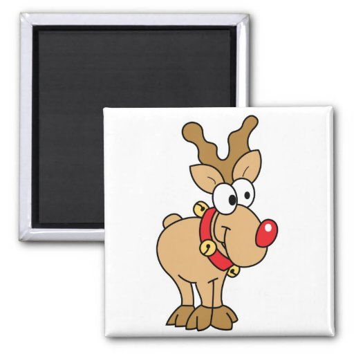 Cute Happy Little Red Nose Reindeer Refrigerator Magnets