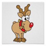 Cute Happy Little Red Nose Reindeer Poster