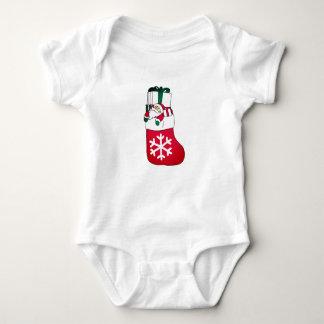 Cute Happy Little Santa Claus in the Sock Baby Bodysuit