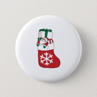 Cute Happy Little Santa Claus in the Sock Pinback Button