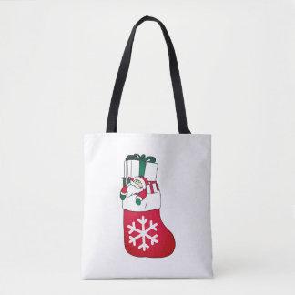 Cute Happy Little Santa Claus in the Sock Tote Bag