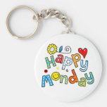 Cute Happy Monday Week Greeting Text Expression Basic Round Button Keychain