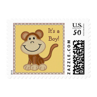 Cute Happy Monkey It's a Boy New Baby Postage