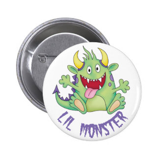 cute happy monster button