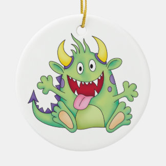 cute happy monster ceramic ornament