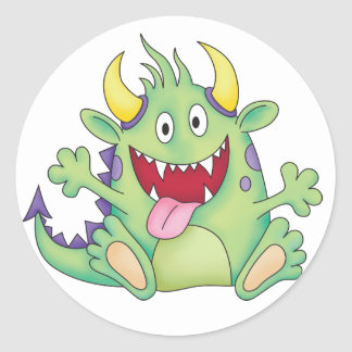 cute happy monster classic round sticker