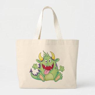 cute happy monster large tote bag