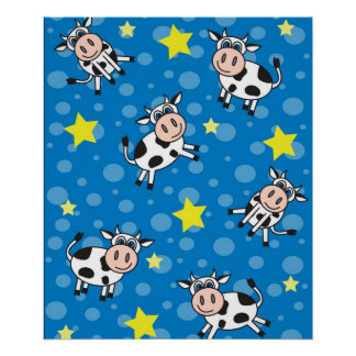 Cute Happy Mr. Cow Print - Blue
