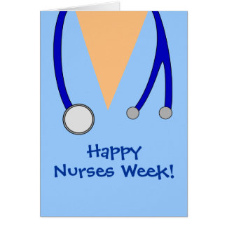 Cute Happy Nurses Week Scrubs and Stethoscope Card