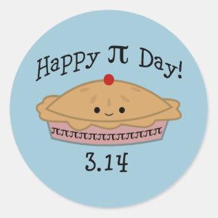 Cute Happy Pi Day! Classic Round Sticker at Zazzle