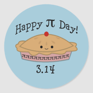 Cute Happy Pi Day! Classic Round Sticker