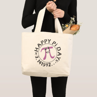 Cute Happy Pi Day © Large Tote Bag