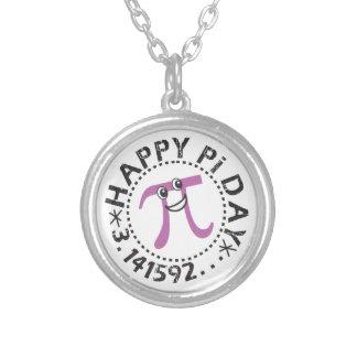 Cute Happy Pi Day Necklace - Fun Purple Pi Symbol