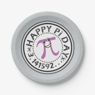 Cute Happy Pi Day Paper Plate at Zazzle