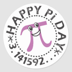 Cute Happy Pi Day © Stickers - Funny Pi Day Gifts at Zazzle