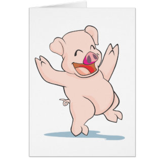 Cute Happy Pig Arms Hands Waving Up HIgh Greeting Cards
