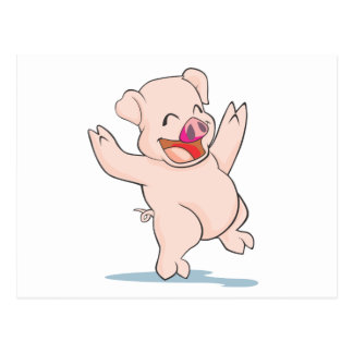 Cute Happy Pig Arms Hands Waving Up HIgh Postcard