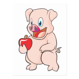 Cute Happy Pig with Apple Pork Postcard