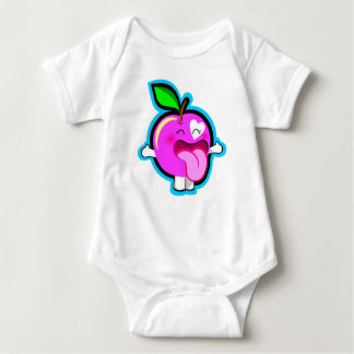 Cute happy pink apple for baby baby bodysuit