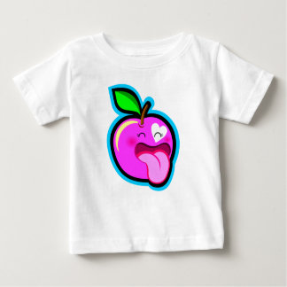 Cute happy pink apple for baby in white shirt