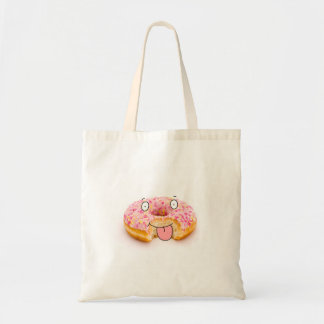 Cute happy pink doughnut character bag
