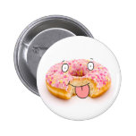 Cute happy pink doughnut character button