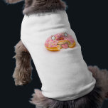 """Cute happy pink doughnut character dog t-shirt<br><div class=""""desc"""">Cute happy pink doughnut character,  made from a photograph and hand drawn features dog t-shirt</div>"""