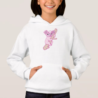 Cute, happy pink koala bear in tree. Cartoon image Hoodie
