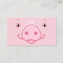Cute Happy Pink Pig Face Business Card