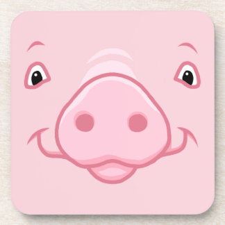 Cute Happy Pink Pig Face Coaster