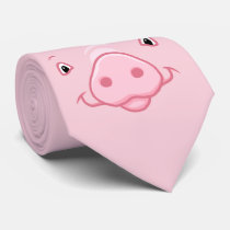 Cute Happy Pink Pig Face Neck Tie