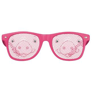 Cute Happy Pink Pig Face Retro Sunglasses