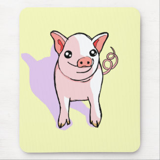 Cute Happy Pink Piglet Drawing Yellow Mousepad