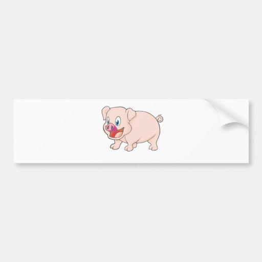 Cute Happy Pink Pork Pig Bumper Sticker