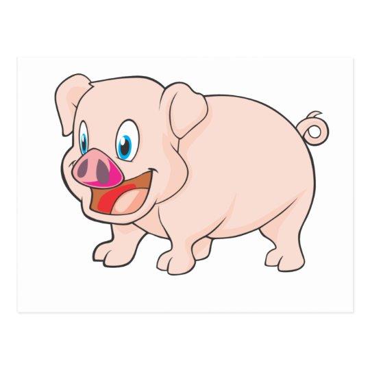 Cute Happy Pink Pork Pig Postcard