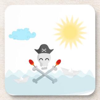 Cute Happy Pirate Skull With Maracas Beverage Coaster