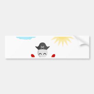 Cute Happy Pirate Skull With Maracas Bumper Sticker